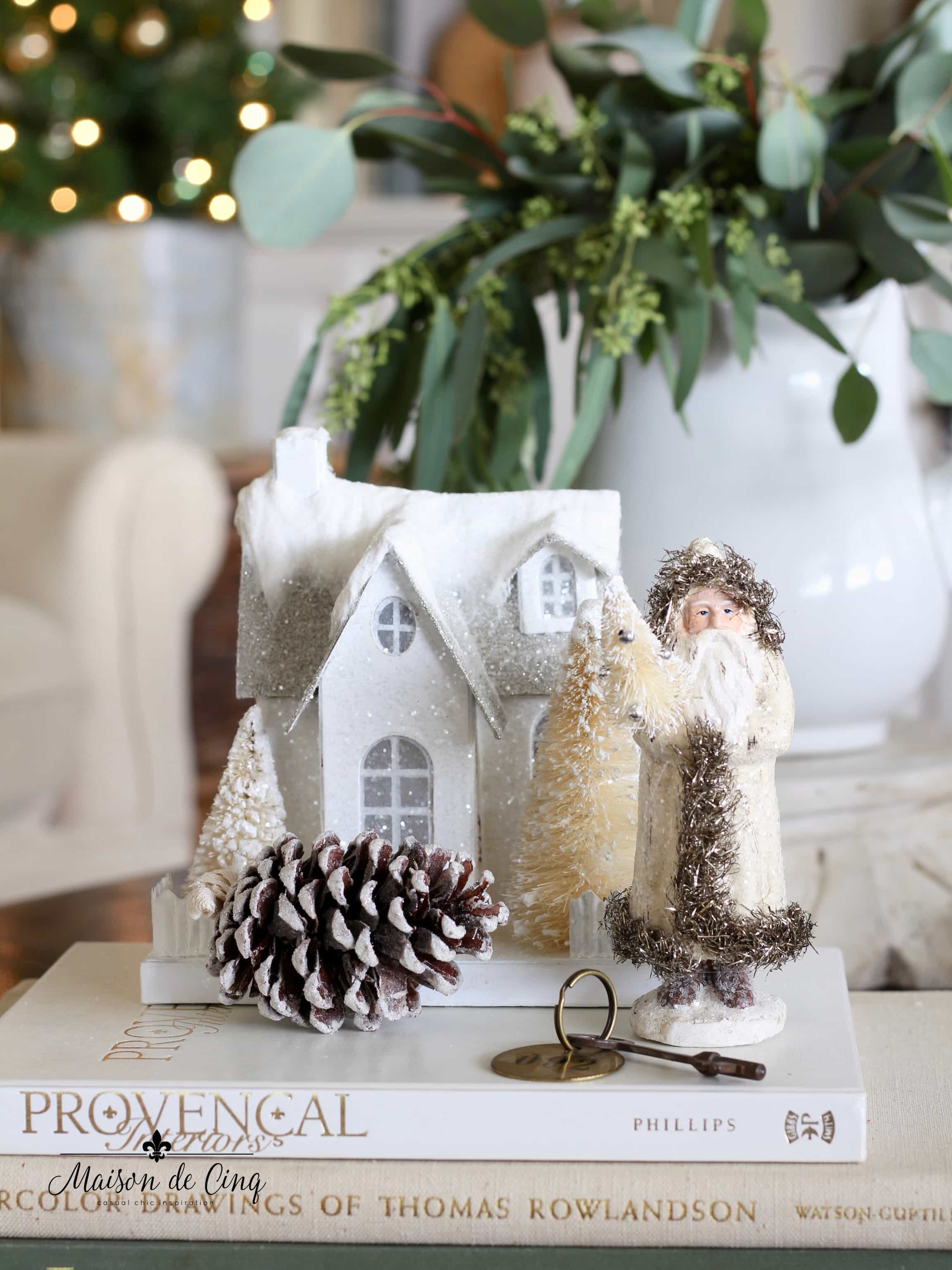 French farmhouse Christmas decor little white paper mache Putz house and vintage santa with Christmas tree charming holiday decor