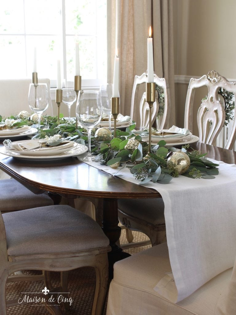 green and white tablescape in french country dining room gorgeous holiday decor