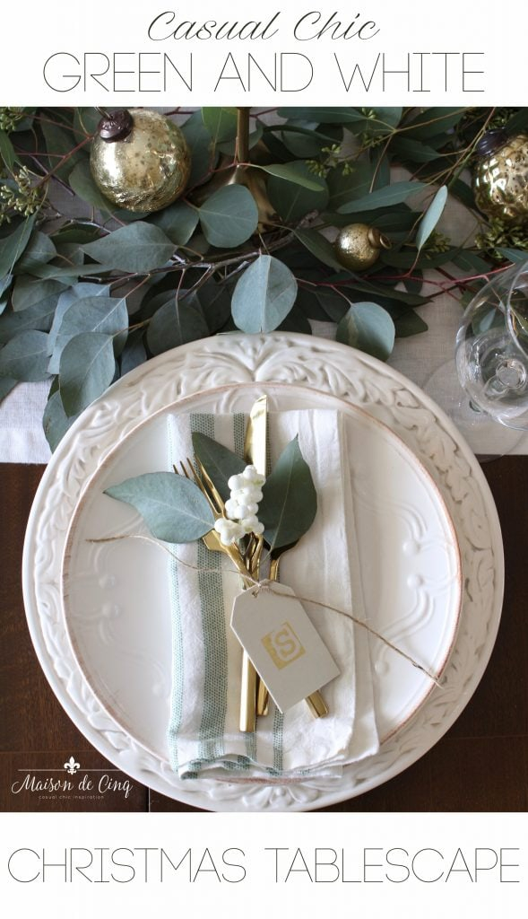 green and white christmas tablescape on maison de cinq gorgeous holiday table setting