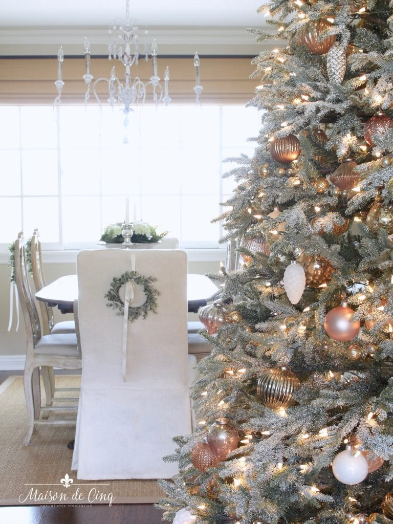 christmas dining room tree looking at dining table and chairs chandelier french country style