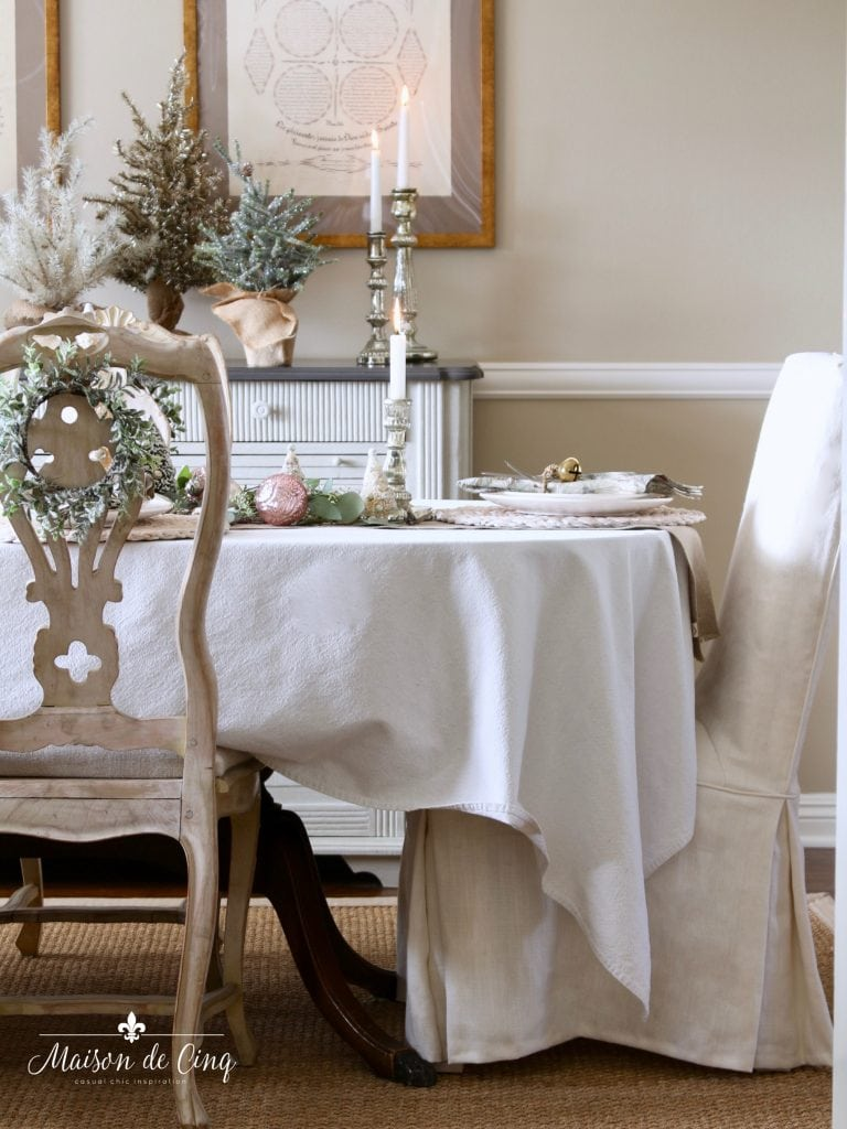 christmas table setting french country dining room gorgeous soft romantic holiday decor