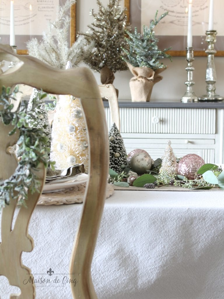 christmas table setting soft romantic french country christmas decor in pinks and greens