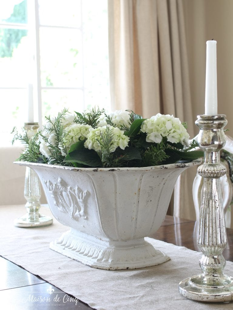 christmas dining room antique french urn holding white hydrangeas simple holiday decor