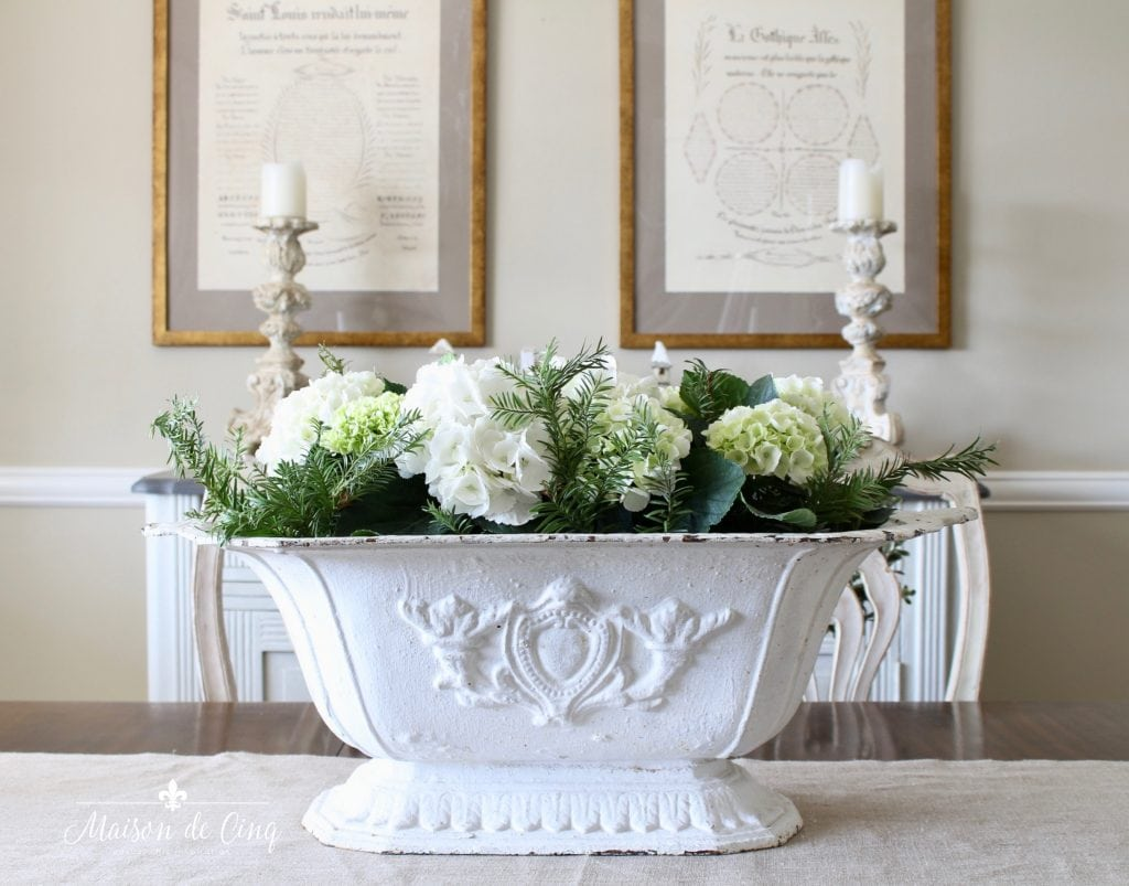 christmas dining room white antique urn with hydrangeas french country charm