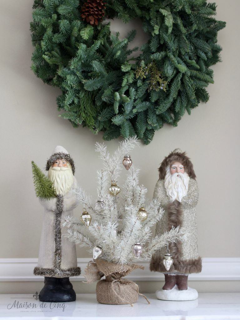 christmas dining room vintage santas with small white tree french country charm