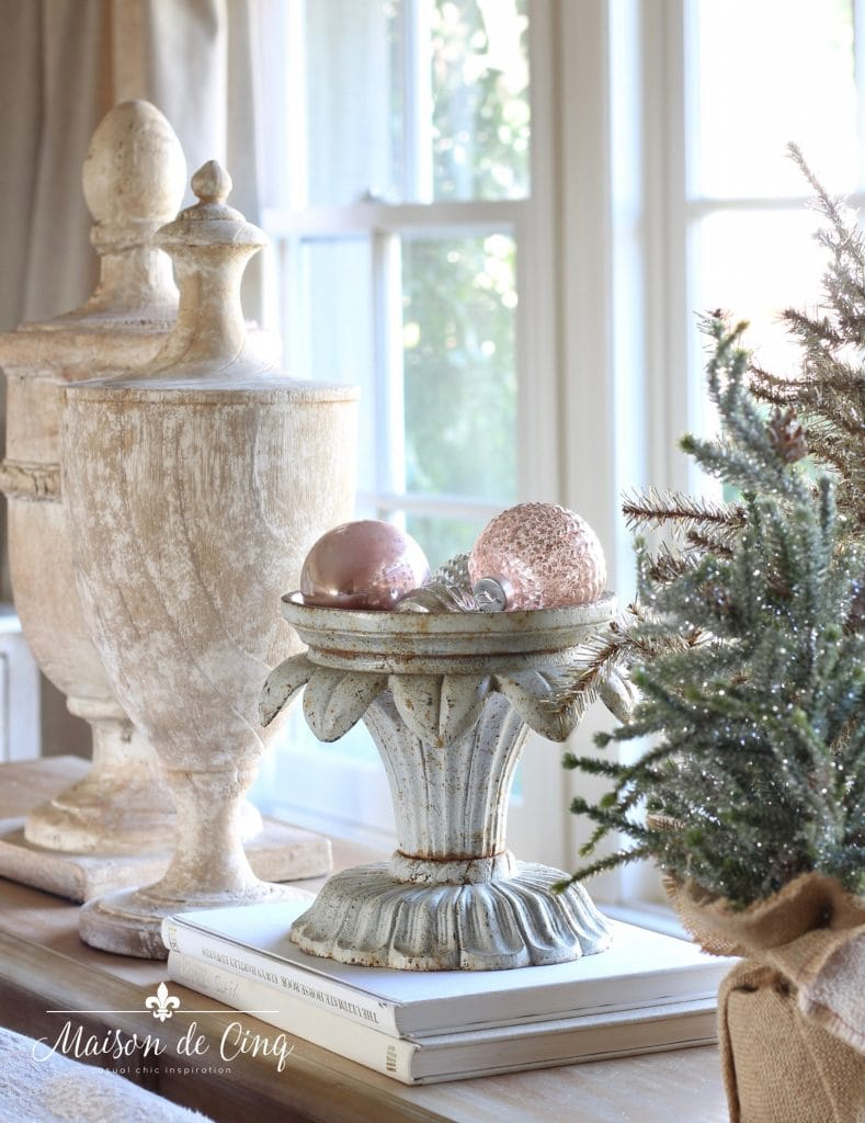romantic christmas living room french urns pink ornaments mini trees on table vignette charming french country style