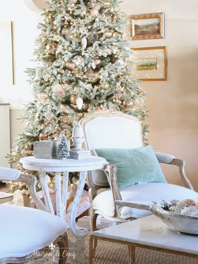 romantic christmas living room flocked tree in french country style room