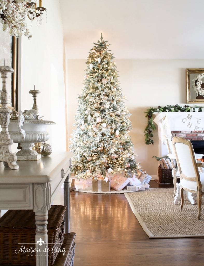 romantic christmas living room gorgeous french country style with flocked tree