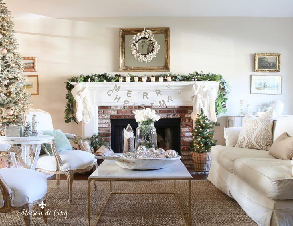 romantic christmas living room gorgeous french country style neutral room fireplace mantel mirror sofa room view