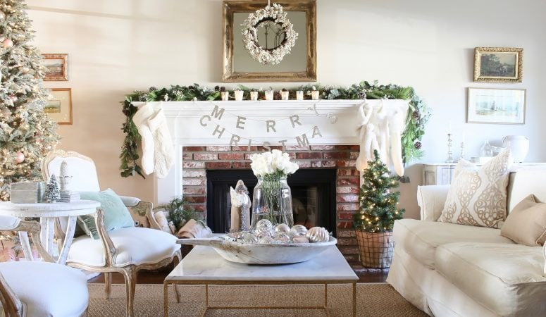 French Inspired Romantic Christmas Living Room