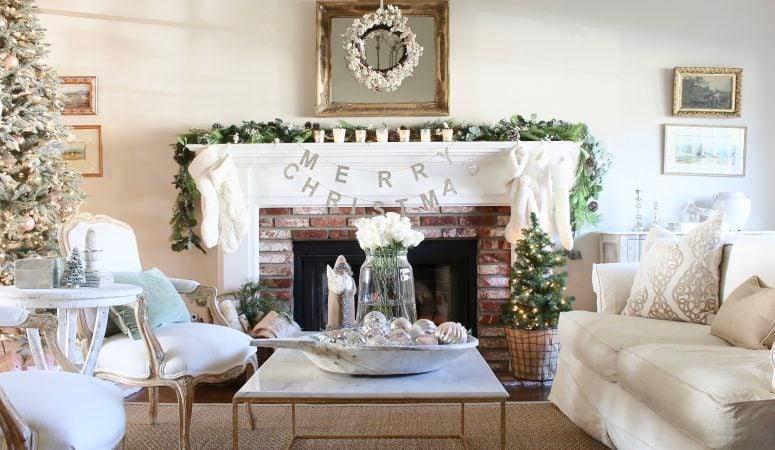 French Inspired Romantic Christmas Living Room