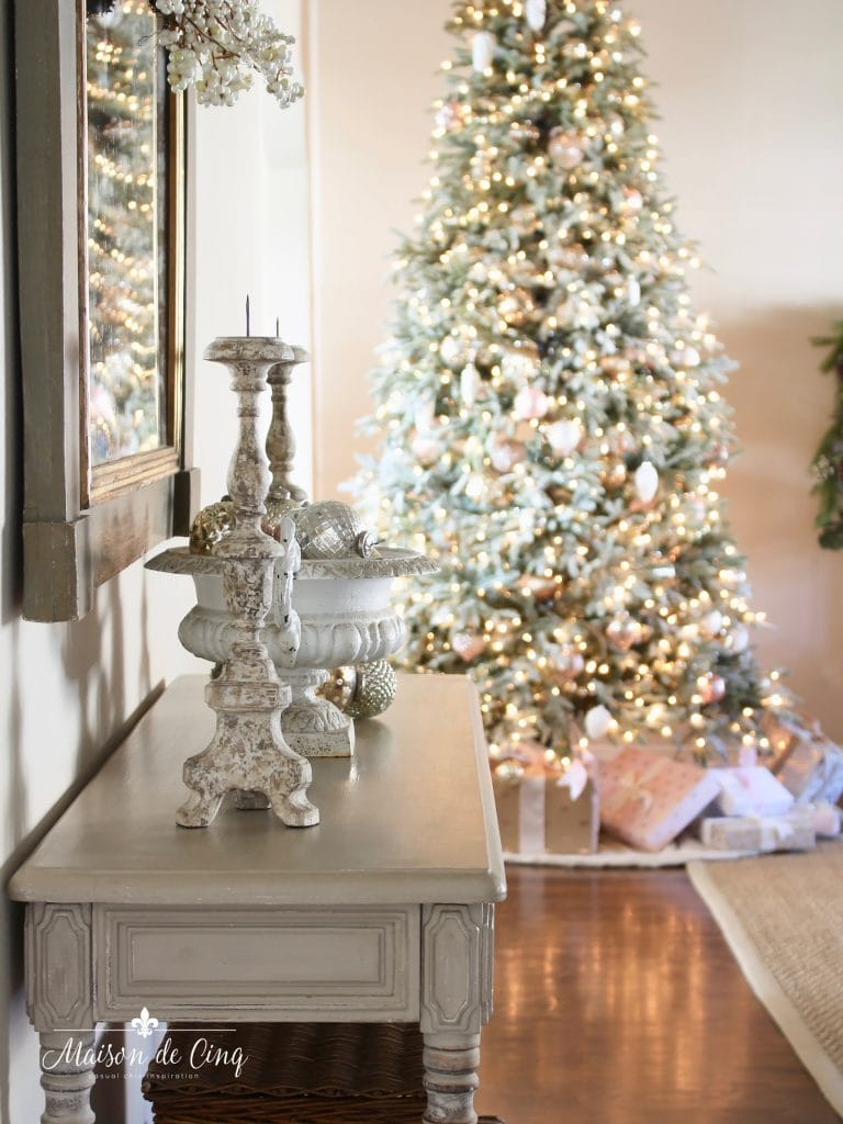 romantic christmas living room gorgeous flocked tree lights pink and silver decorations french country style