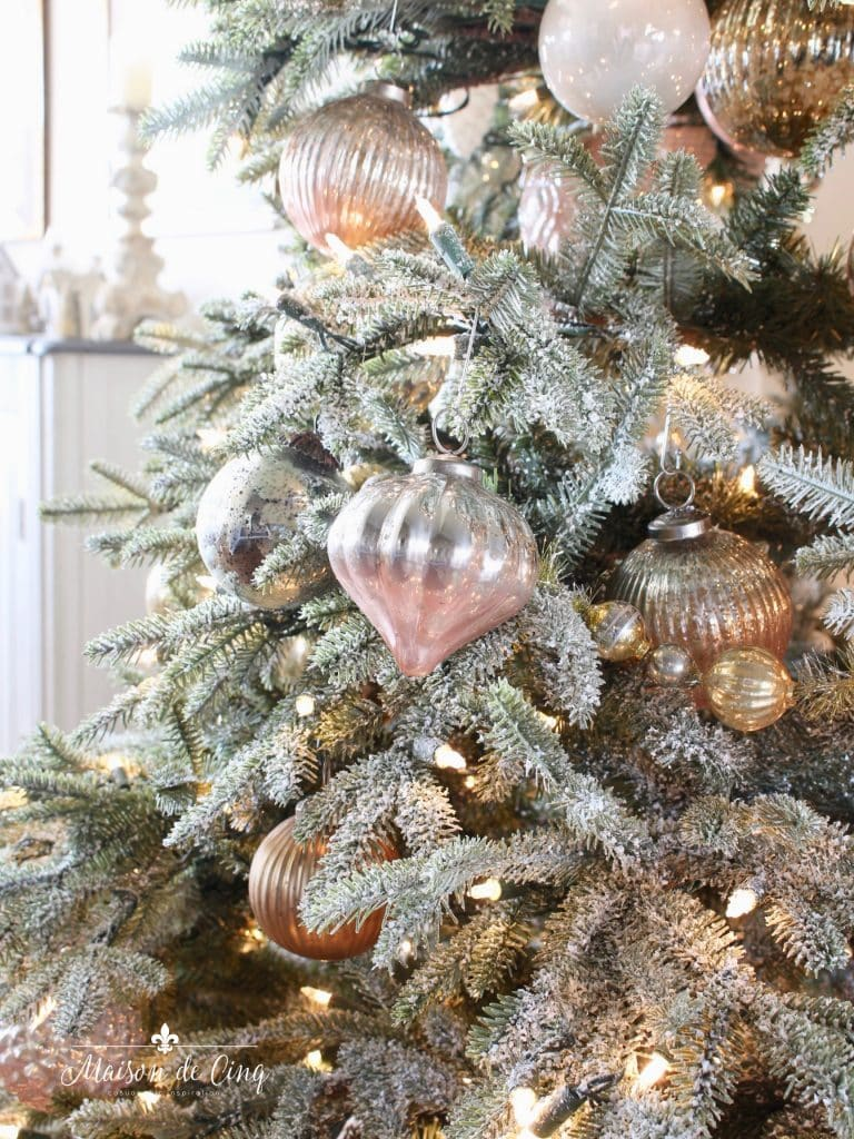 romantic christmas living room gorgeous flocked tree with pink, white and silver mercury glass ornaments french country style