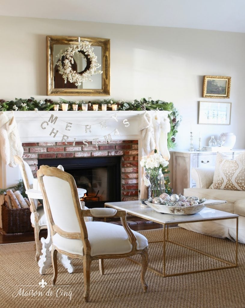 romantic christmas living room gorgeous french country style neutral room fireplace with garland