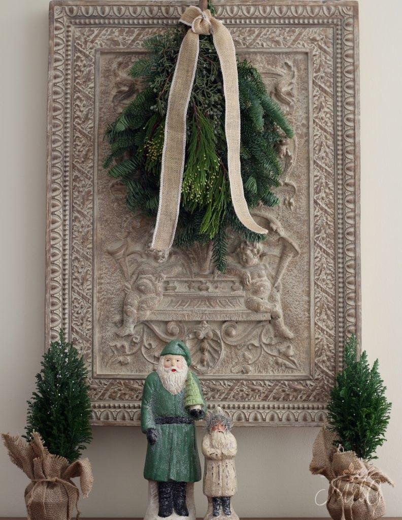 French Christmas decor vintage santas pine swag little pine trees