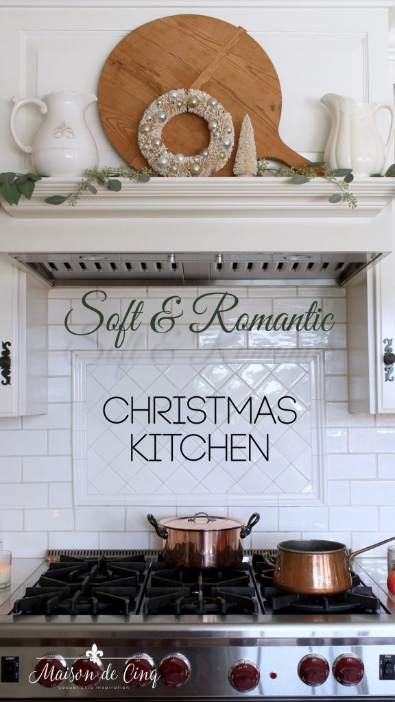 christmas kitchen tour mantel decor eucalyptus wreath white pitchers holiday decor ideas