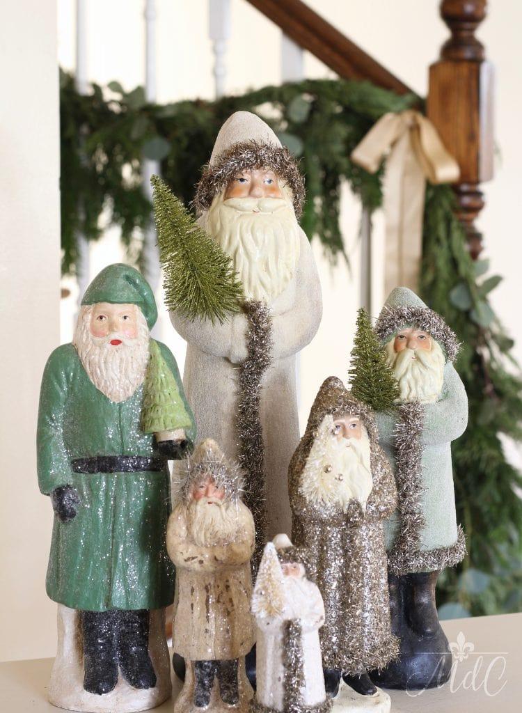 french christmas decor vintage santas pine garland holiday decorating
