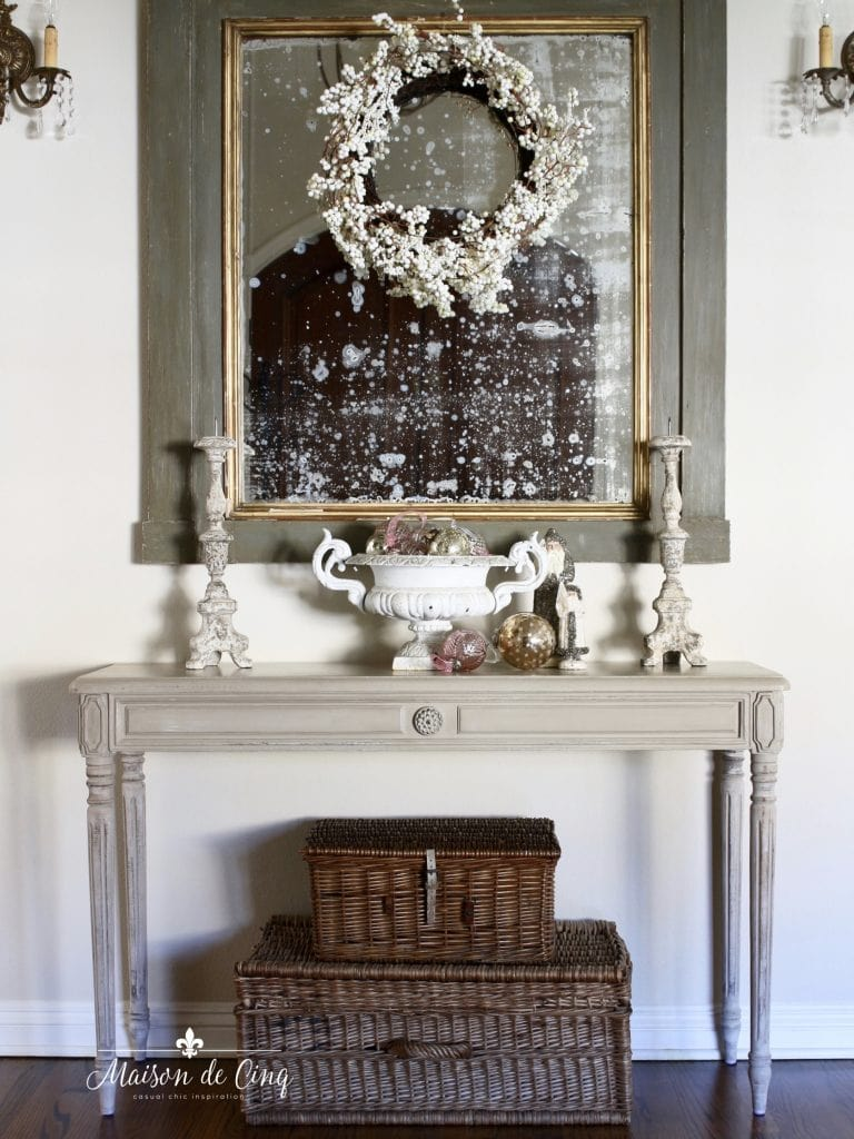 christmas entry way soft romantic white and blush holiday decor