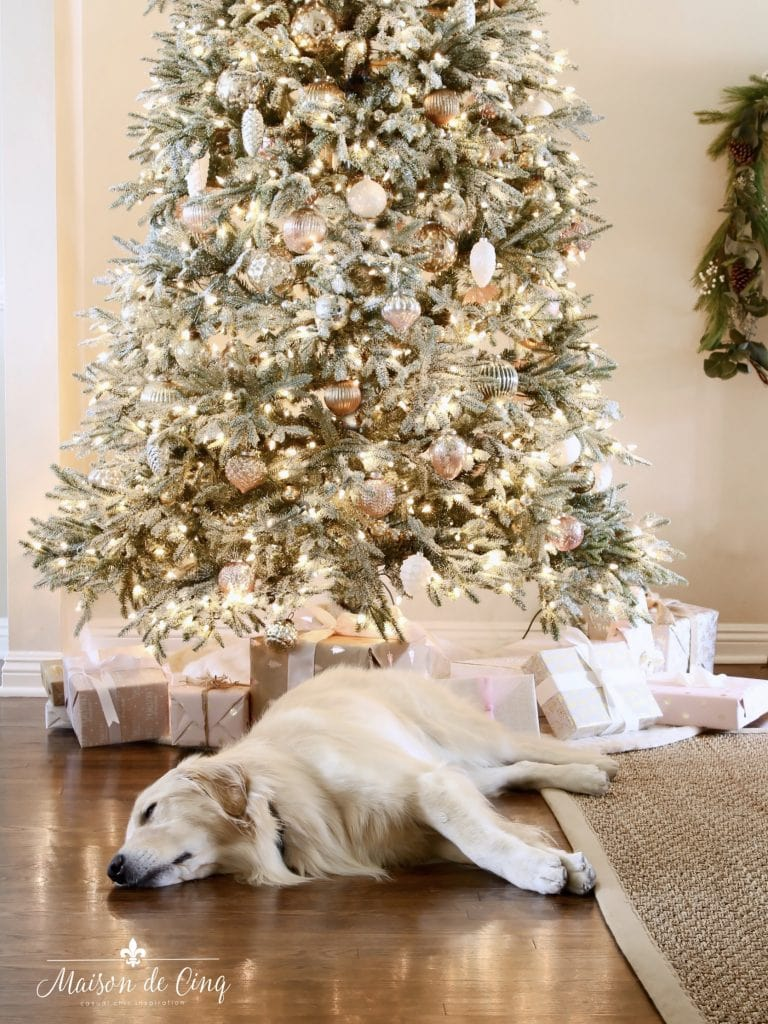 romantic christmas living room flocked tree pink and white decorations in french country room with golden retriever