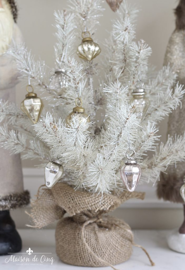 christmas dining room white mini tree with mercury glass ornaments french country charm