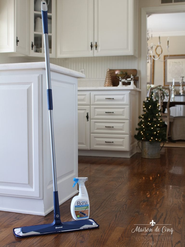 holiday cleaning tips bona mop in farmhouse kitchen how to clean hardwood floors
