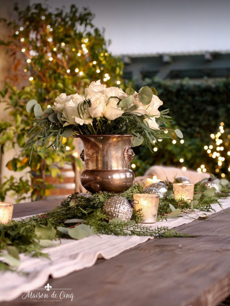 cozy Christmas patio white lights romantic ambiance outside