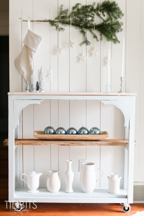 blue christmas decor ideas white shelves with blue ornaments simple beauty french farmhouse christmas