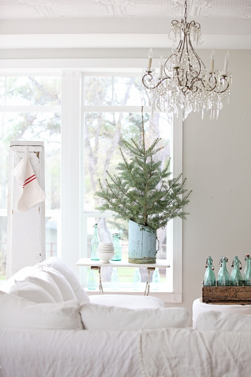 blue christmas decor ideas all white room with tree in vintage powder blue bucket gorgeous french farmhouse inspiration