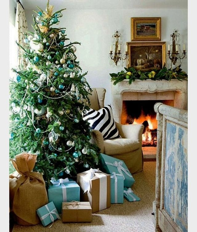 blue christmas decor ideas lisa luby ryan gorgeous tiffany blue tree in french country living room