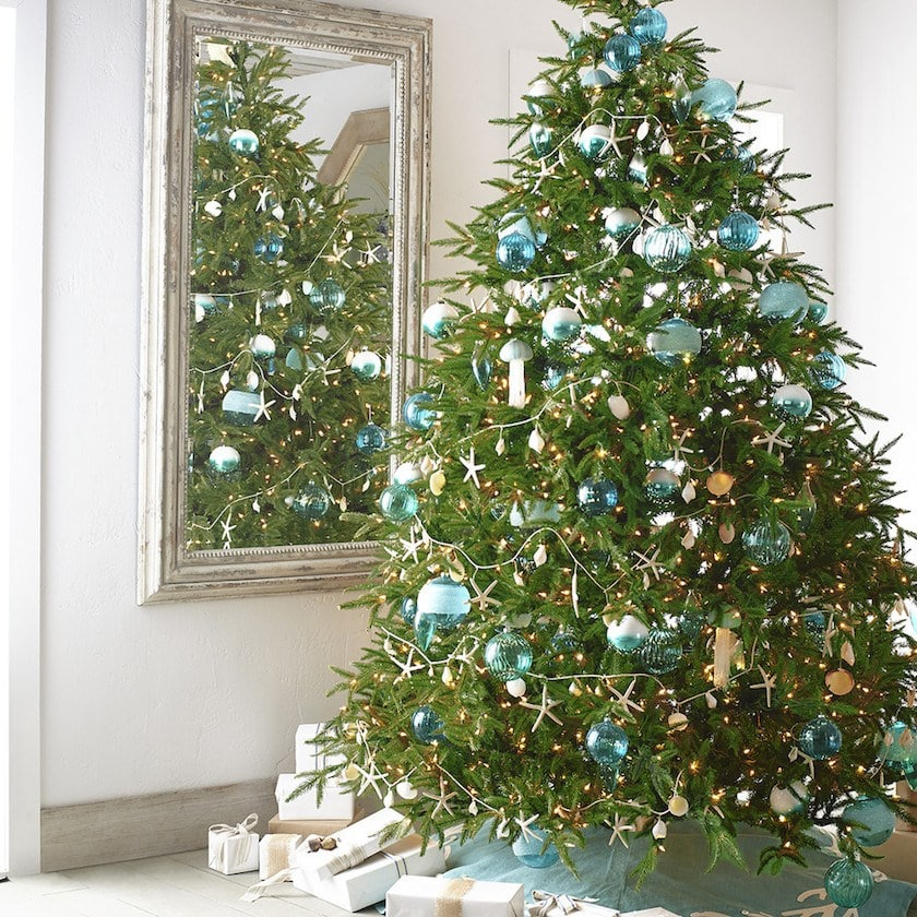 blue green chubby christmas decor ideas gorgeous tree with blue ornaments