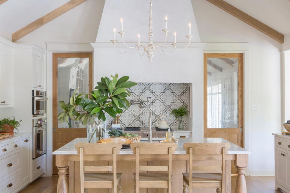 cement tile backsplash over range in gorgeous french farmhouse kitchen fixer upper joanna gaines