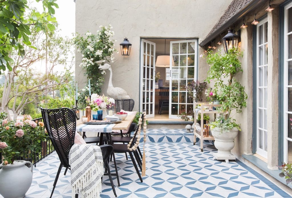 cement tile patio em henderson gorgeous outdoor space french doors vines