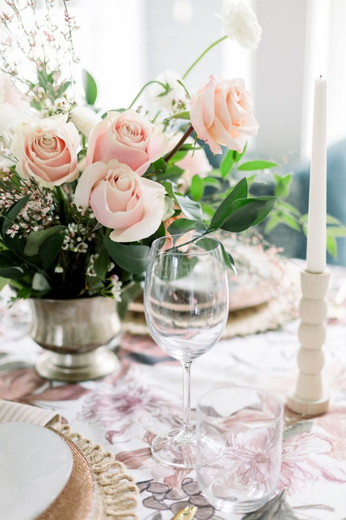 blush floral Valentine's Day table