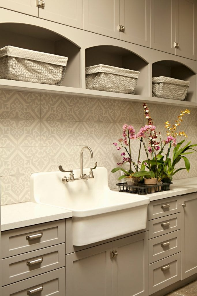cement tile in laundry room taupe and white farmhouse sink