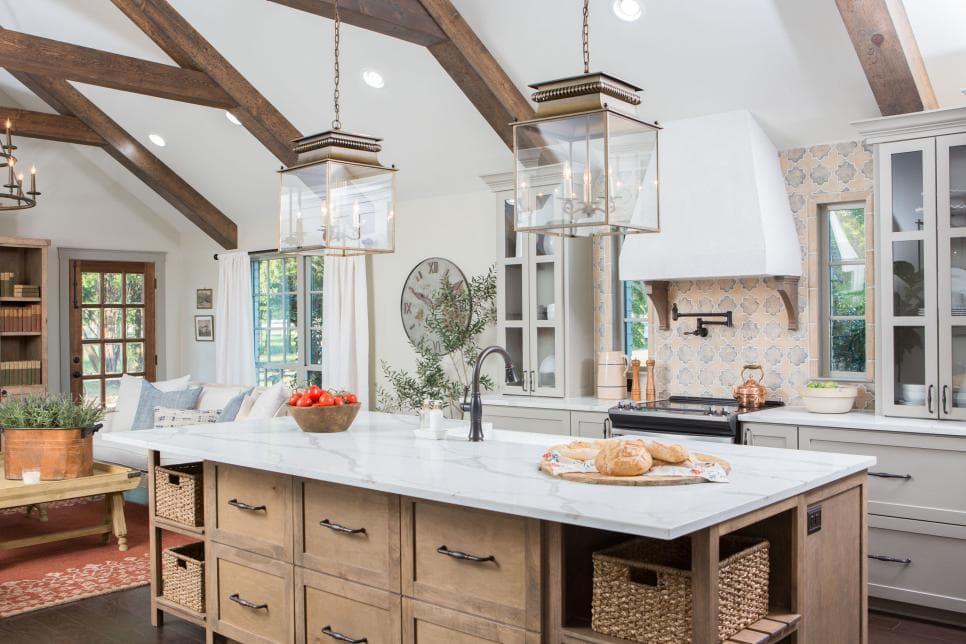 cement tile backsplash in rustic european farmhouse kitchen by joanna gaines fixer upper