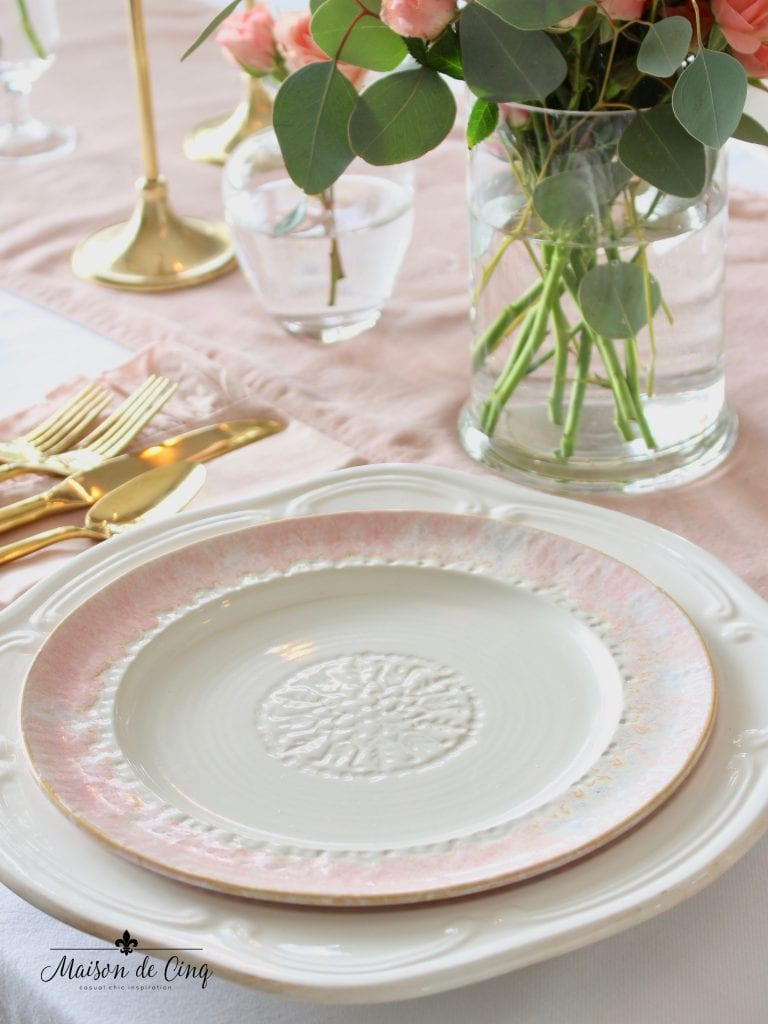 romantic Valentine's Day table with pretty pink and white plates