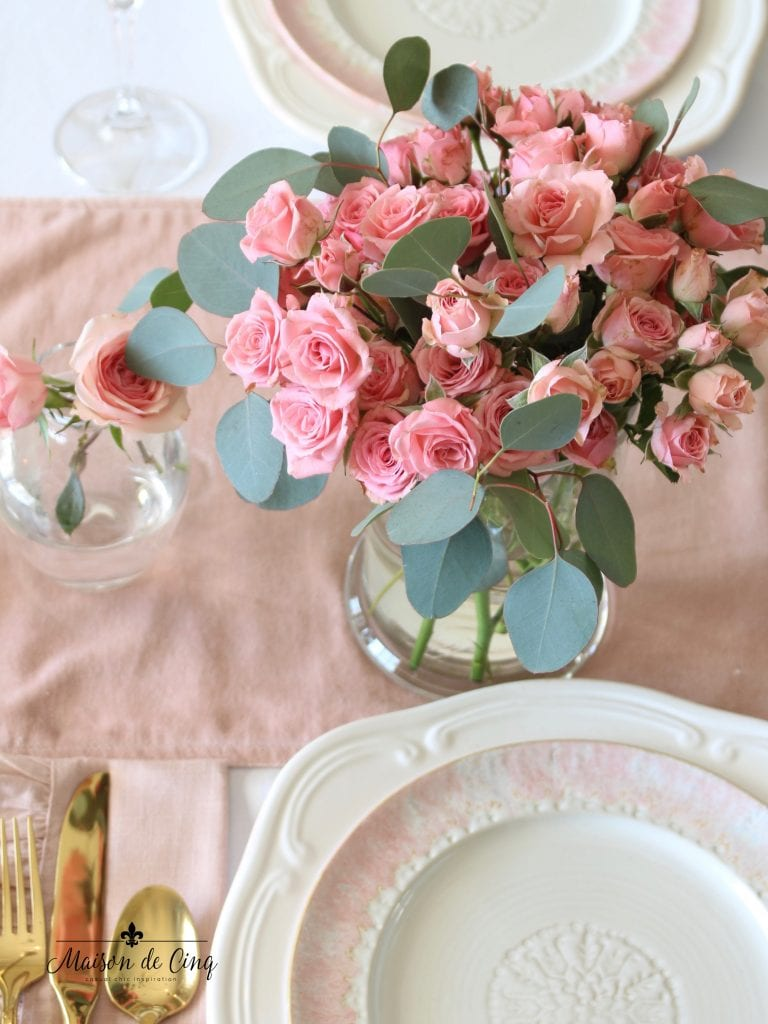 romantic Valentine's Day table pink roses pink velvet runner