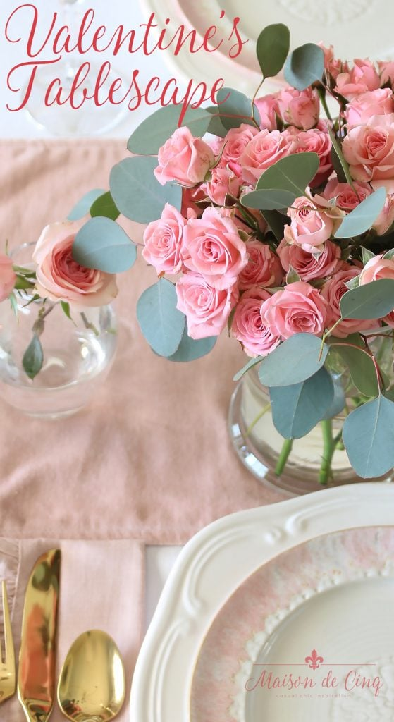 soft and romantic valentine's day tablescape blush pink roses