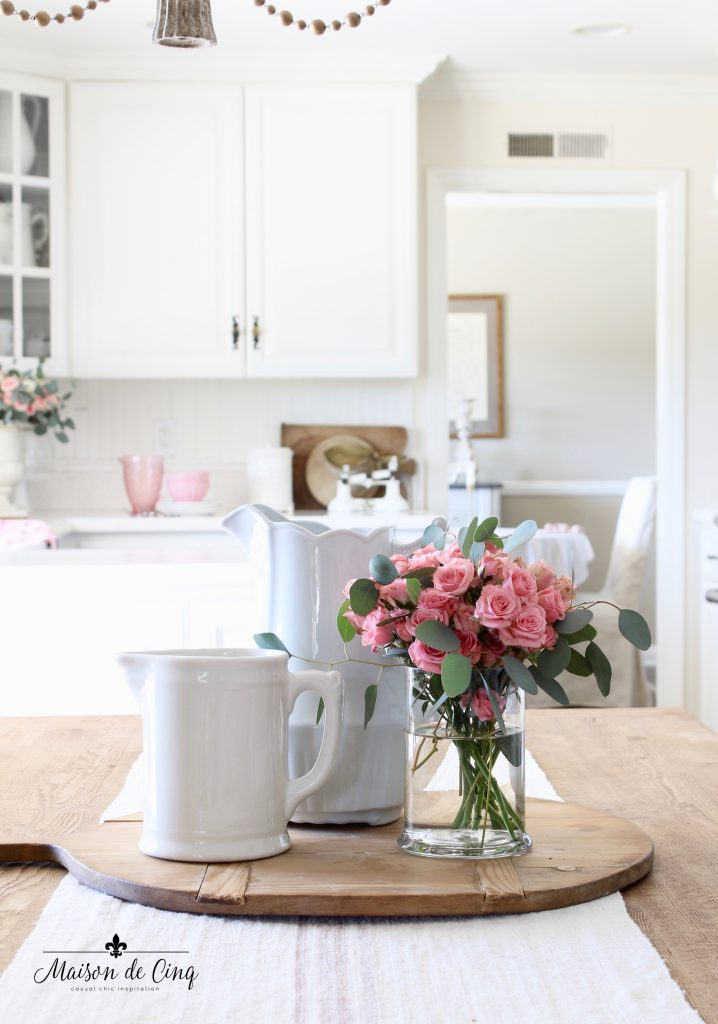 Valentine's Day decorating with pink roses in ironstone pitchers white french country kitchen