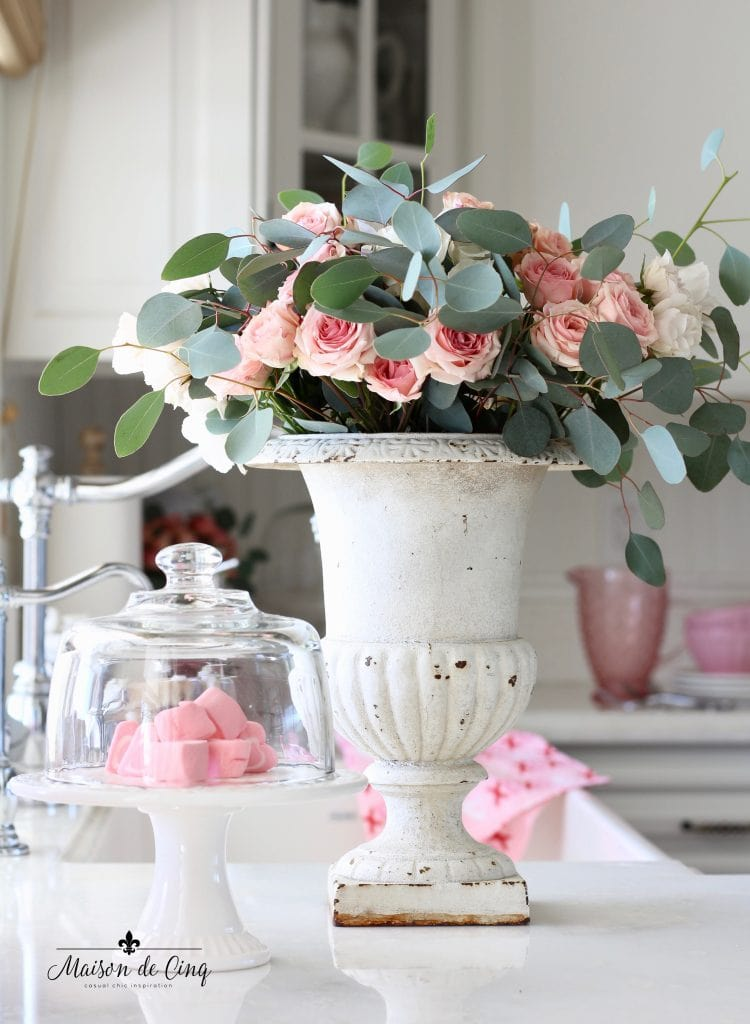 Valentine's Day decorating pink roses in white vintage French urn in white farmhouse kitchen gorgeous decor