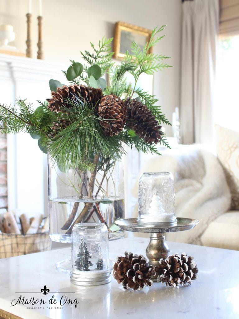 tips for winter decorating add pine boughs greens and pine cones french country living room
