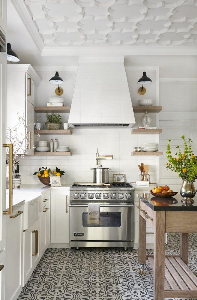 cement tile on kitchen floor in white gorgeous modern kitchen