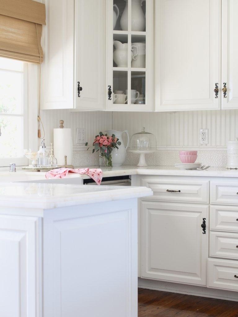 Valentine's Day decorating white french country farmhouse kitchen pink roses