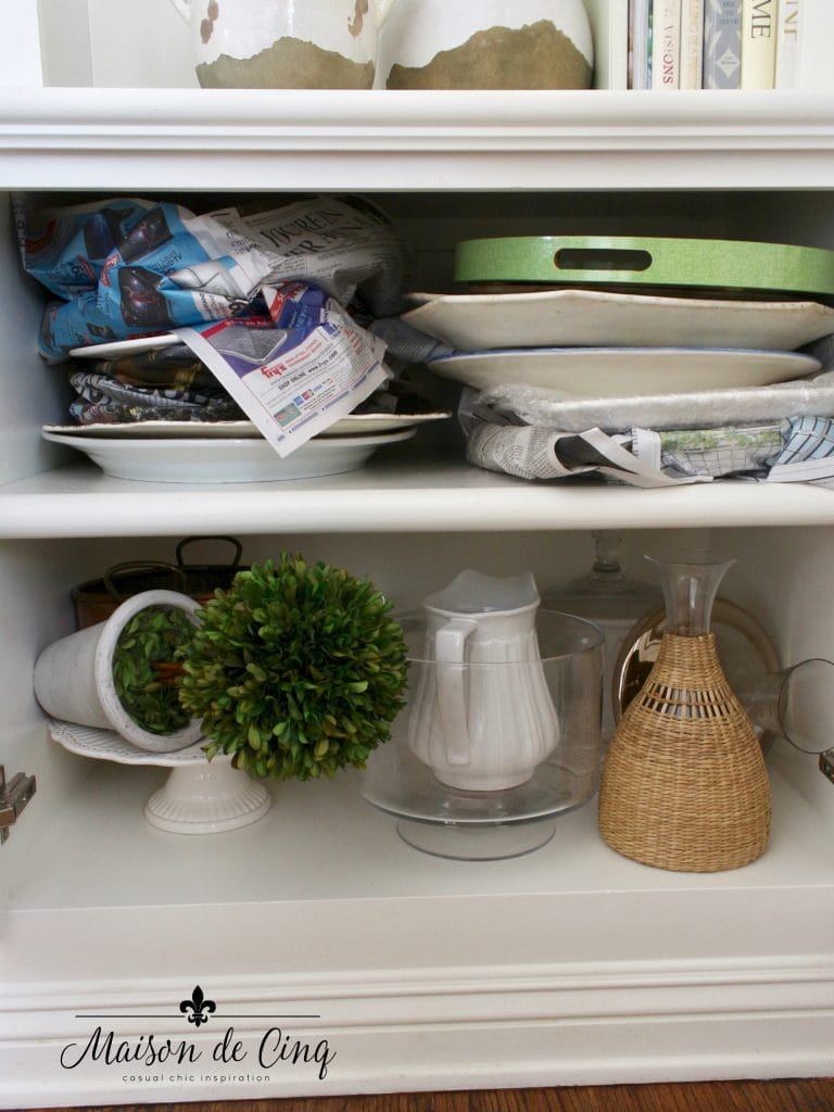 tips for organizing cabinets messy dishes before shot