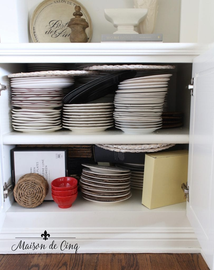 tips for organizing cabinets messy before shot of dishes cabinet