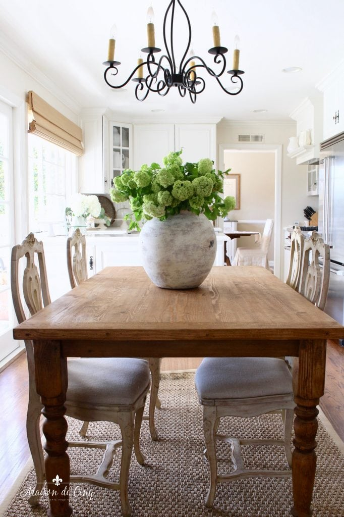 how to decorate with flowers green hydrangeas in a gorgeous white farmhouse kitchen