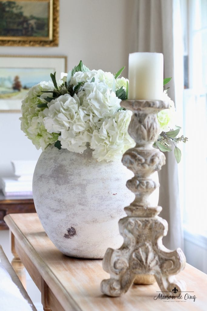 how to decorate with flowers white hydrangeas in gorgeous urn french country living room