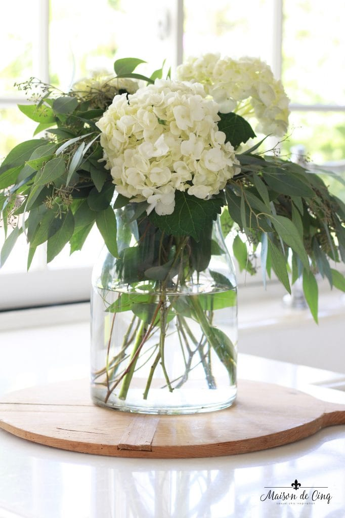 how to decorate with flowers gorgeous white hydrangeas with eucalyptus in glass vase