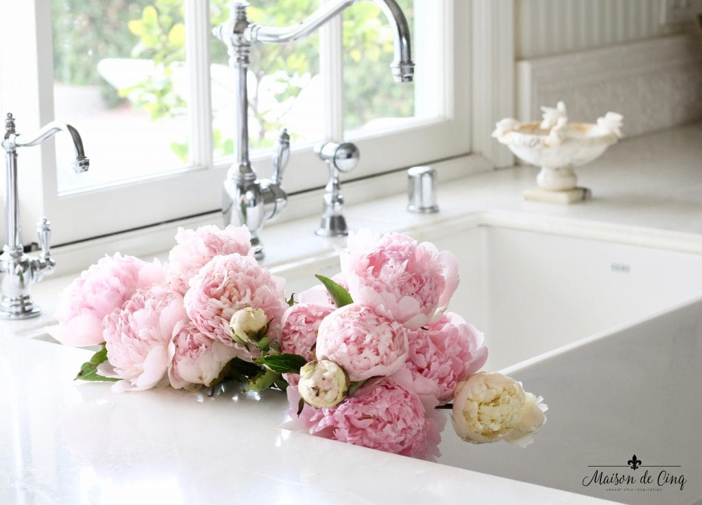 how to decorate with flowers pink peonies in farmhouse sink gorgeous white farmhouse kitchen