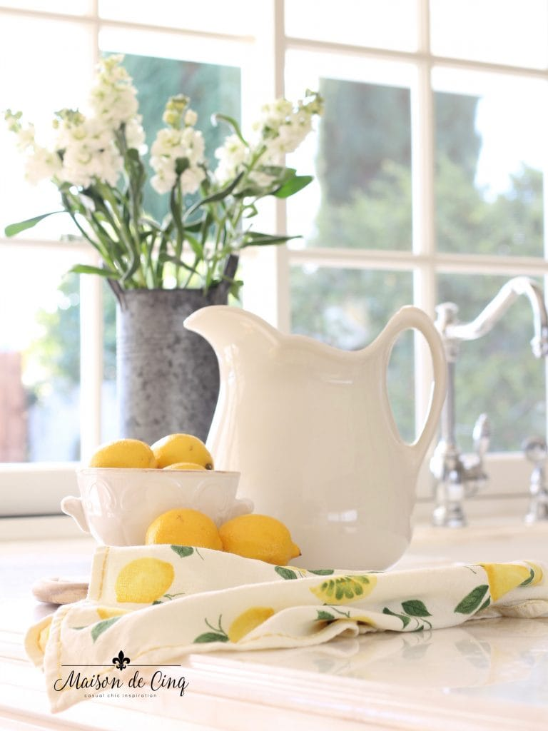 simple spring decorating ideas lemons white flowers farmhouse kitchen